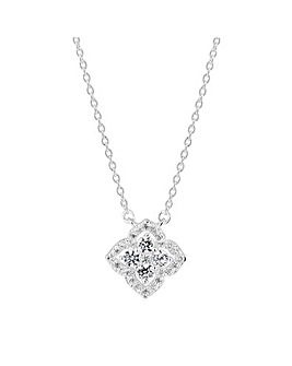 Simply Silver Flower Halo Pendant