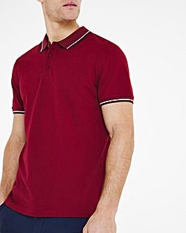 Wine Pique Tipped Polo Long