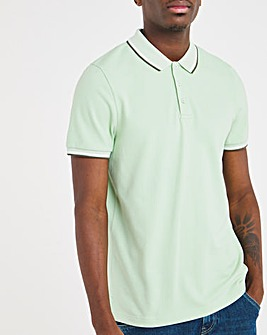 Mint Pique Tipped Polo Long