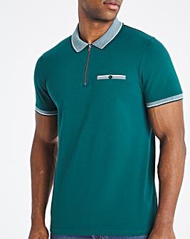 Green Jacquard Zip Neck Polo Long