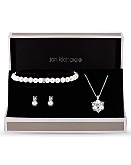 Jon Richard Pearl Crystal Cluster Set