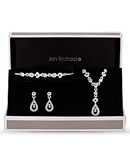 Jon Richard Crystal Floral Trio Set