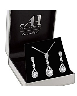 Alan Hannah Pave Pendant And Earring Set
