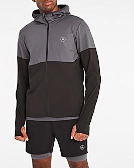 Jacamo Active Grey/Black Colourblock Zip Through Hoodie