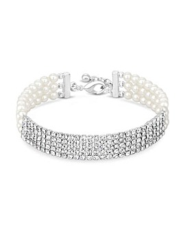 Jon Richard Pearl Diamante Bracelet