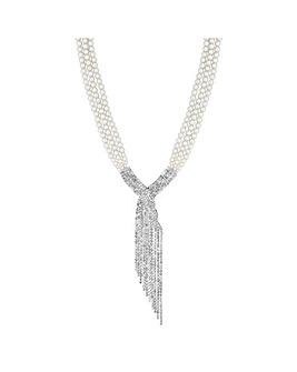 Jon Richard Diamante Twist Drop Necklace