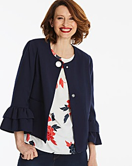 Navy Frill Sleeve Cropped Jacket
