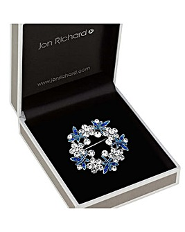 Jon Richard Crystal Floral Wreath Brooch