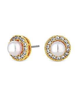 Jon Richard Gold Pave Pearl Stud Earring