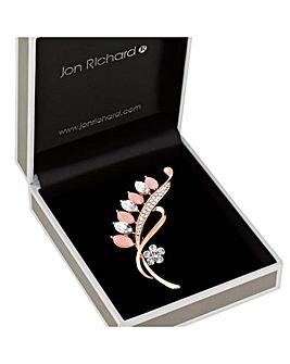 Jon Richard Cateye Crystal Leaf Brooch