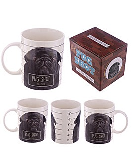 New Bone China Mug Brown Pug Shot Design