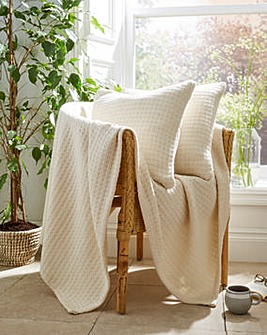Cotton Waffle Throw and Cushion Covers