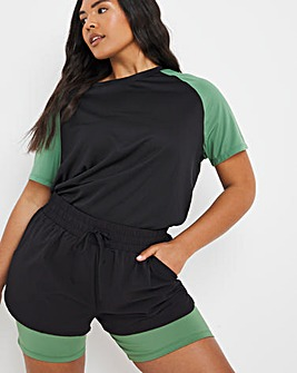 Sustainable Colour Block Double Layer Shorts