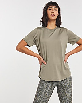 Khaki Green Solid Sustainable Active T-Shirt