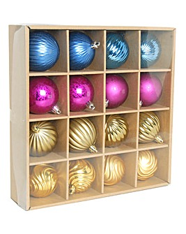 Pack 16 Colourful Metallic 6cm Baubles