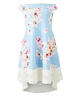 Quiz Floral Bardot Fit & Flare Dress