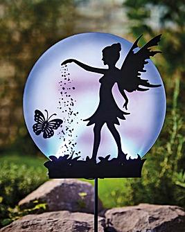 Solar Fairy Silhouette Stake