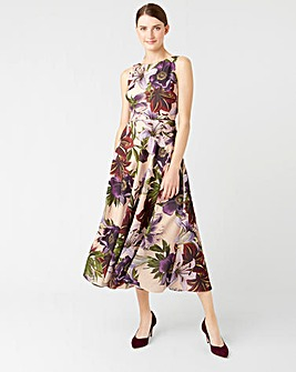 Hobbs Carly Floral Fit and Flare Midi Dress