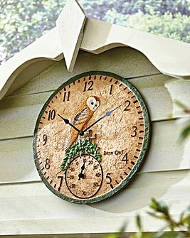 Owl Garden Clock Thermometer