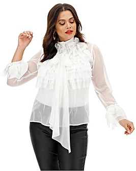 Lovedrobe Sheere Ruffle Blouse