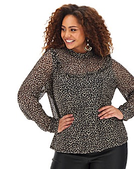 Oasis Curve Mesh High Neck Top