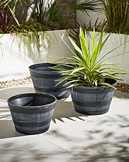 Set of 3 Barrel Planters