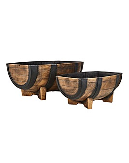 Set of 2 Half Barrel Planters