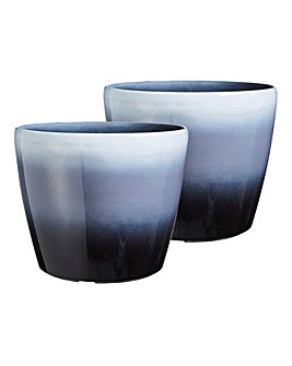 Set of 2 Ombre Plastic Planter