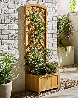 Narrow Wooden Trellis Planter