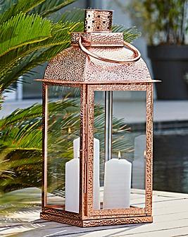 Hammered Effect Garden Lantern Copper