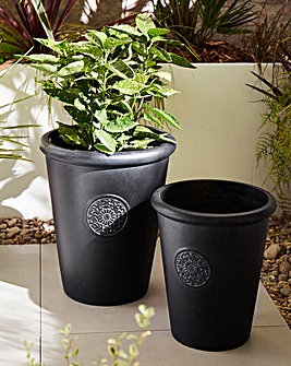 Set of 2 Round Decal Planters Grey