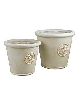 Set of 2 Round Decal Planters Natural