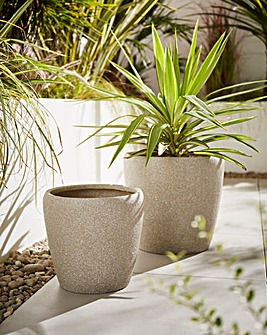 Set of 2 Round Planters Light Grey