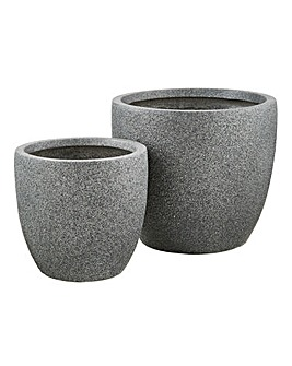 Set of 2 Round Planters Dark Grey