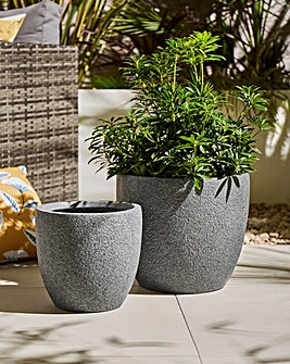 Set of 2 Round Planters Dark Grey