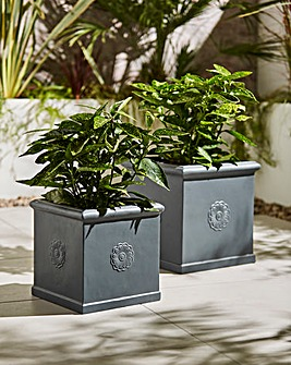 Set of 2 Square Decal Planters Dark Grey
