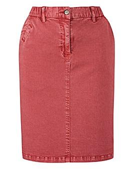 Laundered Stretch Chino Skirt