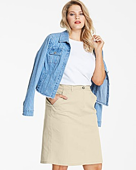 Laundered Stretch Chino Skirt