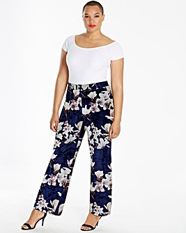 Floral Printed Velour Wide Leg Trousers