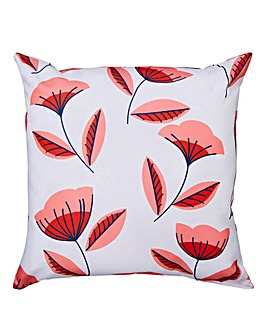 Coral Scandi Floral Outdoor Cushion