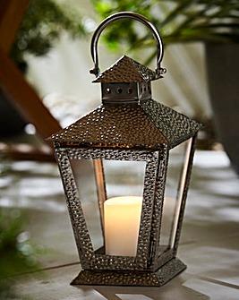 Hammered Effect Garden Lantern Silver