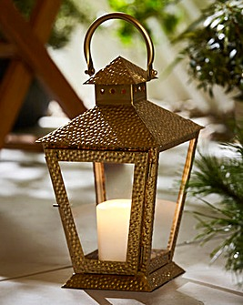 Hammered Effect Garden Lantern Gold