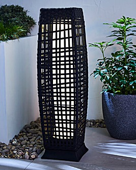 Rattan Solar Pillar Light