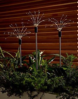 Set of 3 Solar Firework Stake Lights