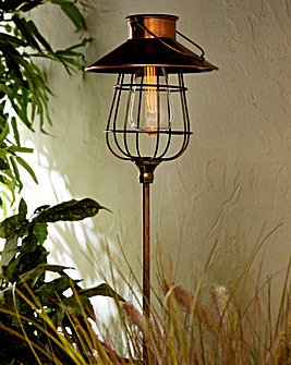 Copper Lantern Solar Stake Light