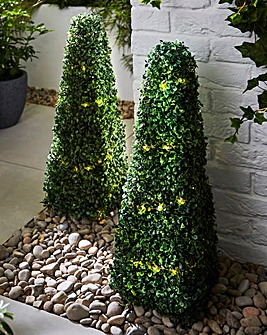 Set of 2 Artificial Topiary Lit Shrubs