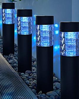 Pack of 4 LED Solar Garden Posts