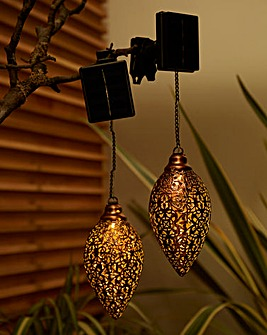 Set of 2 Metallic Outdoor Hanging Lights