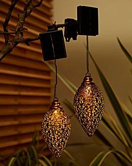 Set of 2 Metallic Outdoor Hanging Lights