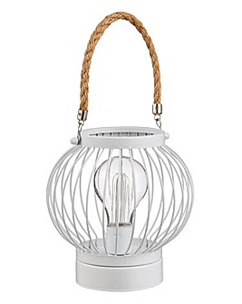 White Solar Lantern with Rope Handle